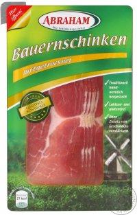 Мясная нарезка ТМ Abraham - Ветчина Бауерншинкен (Bauernschinken) натуральная 80грам Вак.уп. 1шт/уп