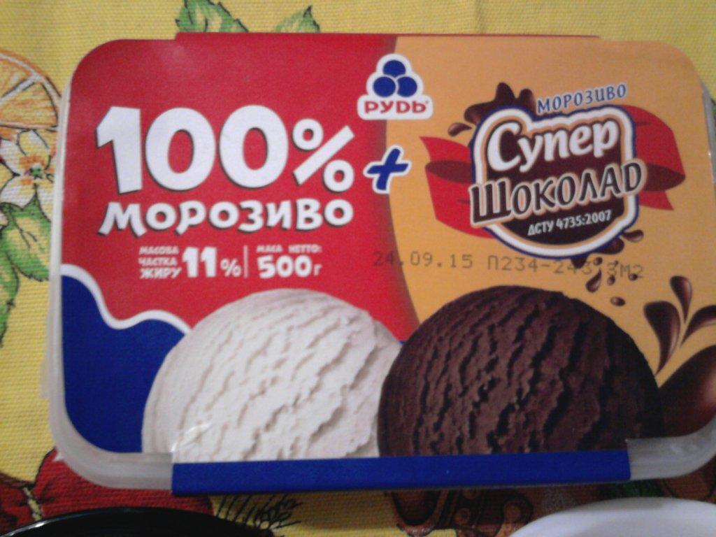 Морожено ТМ Рудь - Мороженое Рудь «100% мороженое» + «Супершоколад» в лотке - Мороженое дружбы
