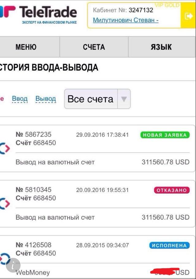 TeleTRADE - Отказываются возвращать мои деньги!!!
