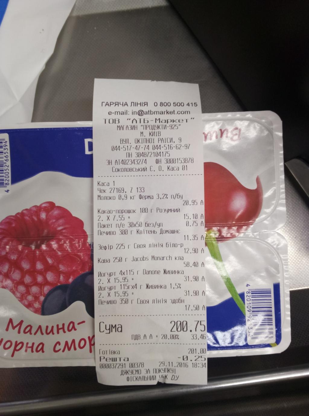 АТБ - йогурт по завышеной цене