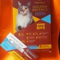 Капли на холку Palladium Golden Defence от паразитов для кошек весом от 4 до 8 кг
