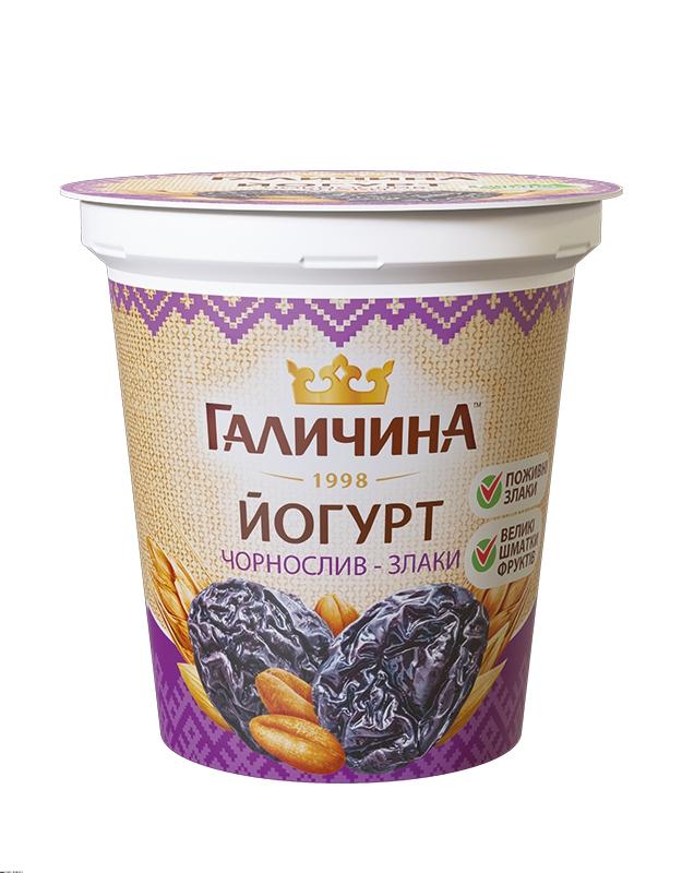 Йогурт густий чорнослив-злаки ТМ ГАЛИЧИНА