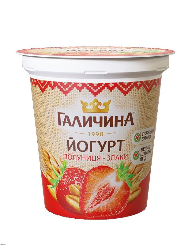 Йогурт густий від ТМ ГАЛИЧИНА полуниця-злаки - Літнє задоволення
