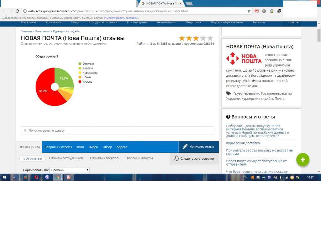 НОВАЯ ПОЧТА (Нова Пошта) - 98% отрицательных отзывов, как растет рейтинг???