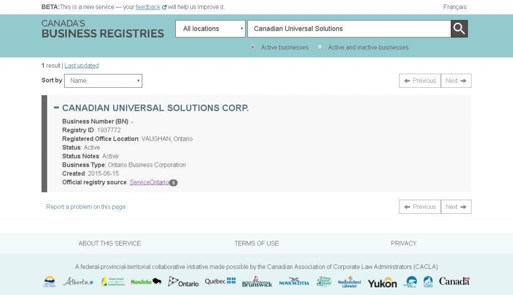 Canadian Universal Solutions Corp (CUSC) - Уважаемые посетители сайтов отзывов