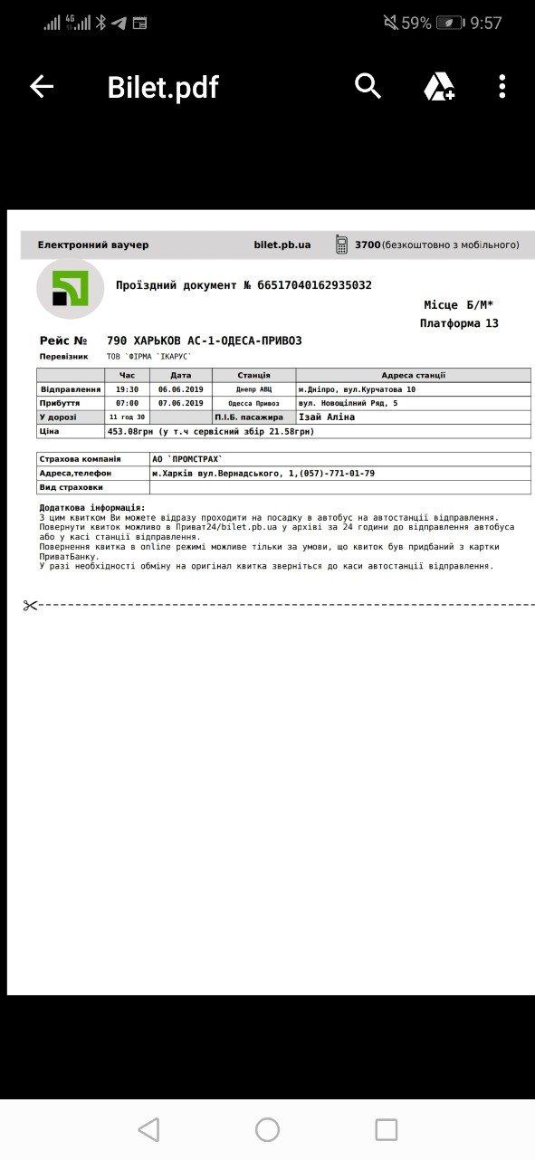 Фирма ИКАРУС - Продажа билетов через приват24