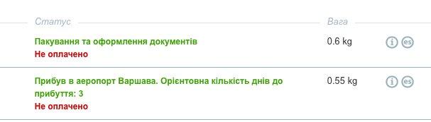 ukraine-express.com международные перевозки - посылки формируют по 500 и 600грамм