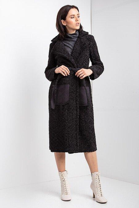 Интернет-магазин Garne - Черное меховое пальто HELENA на осень из каракуля Garne 3033752